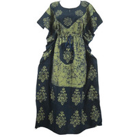 Mogulinterior Maxi Caftan Dress Green Printed Cotton Night Wear Kimono Sleeves kaftan