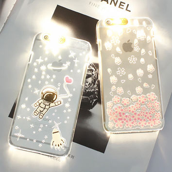PC Flash Up Light Luminous LED Mobile Phone Case Cover for iPhone 6 6s 5 5s SE 6Plus 6splus Space Star Astronaut Sakura