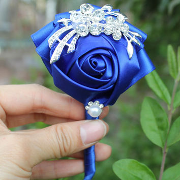 1piece Handmade Pure Color Bouquet Corsage Diamond Rose Accessories for Wedding Bride and Groom Color Optional