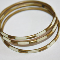 Vintage Bangle Bracelet MOP Brass Set of 3 1960s  Jewelry
