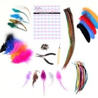 Flair for Hair- 152 Pieces Feather Hair Extensions Super Salon Kit By Cheeky