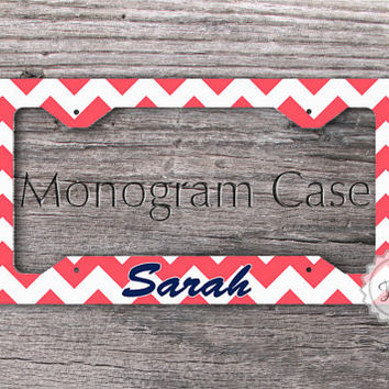 Personalized car tag frame - Coral chevron on navy blue name , license plate frame custom gift
