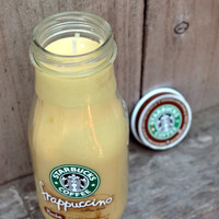 Sweet Coffee Scented Recycled Frappuccino Jar Candle (approx. 8 oz.)