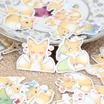 40pcs Self-made Cute Fox Animal Scrapbooking Stickers Decorative Sticker DIY Craft Photo Albums Decals Diary Deco