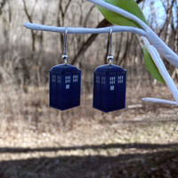 Doctor Who TARDIS police box earrings by BohemianCraftsody on Etsy