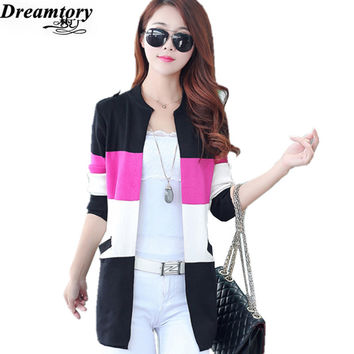 Women jacket sweater coat new 2016 Spring Autumn Fashion female Korean  color in female long sweater cardigan DTMY005
