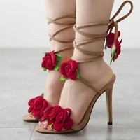 Flower Strappy Fashion Women Peep Toe Sandals High Heels Shoes