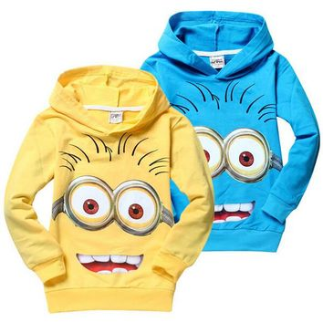 1pcs lot 2016 despicable me 2 minion boys clothes girls nova shirts child Spring hoodies Tops & Tee