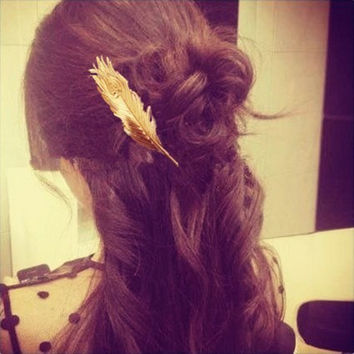 Feather Gold Spring Hair Pins Wedding Hair Accessories peacock feather clip Best Gifts Fashion Jewelry Korean Hairwear