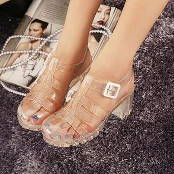 2016 summer new fashion retro crystal thick with transparent plastic Women sandals T-R