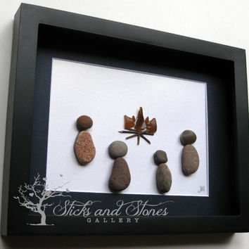 Pebble Art Campfire Scene - Campfire Pebble Art -Unique Cabin Art - Camping Themed Art - Camping Themed Gifts - Camping Scene - Campfire Art