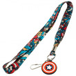Captain America Lanyard with Rubber Logo Charm