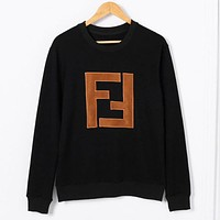 Fendi Autumn And Winter New Fashion Bust Letter Print Women Men High Quality Long Sleeve Sweater Top Black