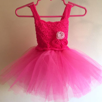 Crochet Baby and Toddler Pink Tutu Dress