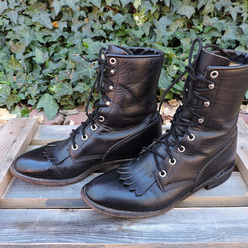 Black Justin roper boots / size US 7.5 / vintage Justin boots / USA made / black leather cowboy boots / lace up western ankle boots
