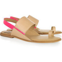 Diane von Furstenberg | Klee leather and neon sandals | NET-A-PORTER.COM
