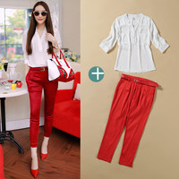 White V-Neck Cuff Sleeve Chiffon Blouse and Red Pencil Pants