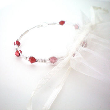 red wire wrapped bangle bracelet by KimberlyAnnMarie on Etsy