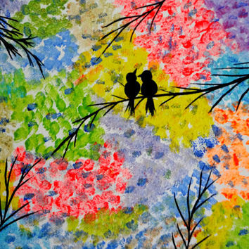 Love birds Acrylic painting Valentine's Day Decor Colorful bird art Canvas painting Quotes Forever and always Wedding gift Lovers gift