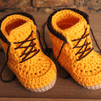"Crochet Boots Pattern for Baby Boys ""Woodsmen"" Construction Boots Crochet Pattern, Yellow Crochet Baby Boots, street shoes"