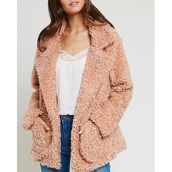 Open Front Teddy Bear Jacket With Pockets - Fall Rose