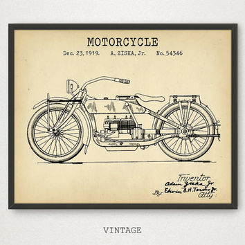 Motorcycle Design Patent, Digital Download, Motorcycle Enthusiast Gift, Man Cave Decor, Patent Prints, Vintage Motorcycle Blueprint Art