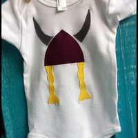 Viking Applique on Onsie for a girl 3-6 months