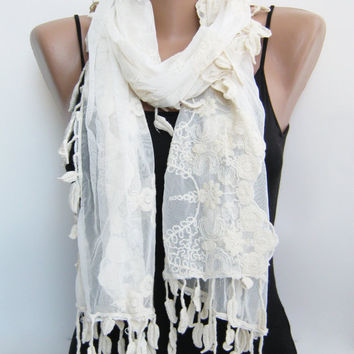 Ivory tulle scarf, summer scarf, leaves lace scarf