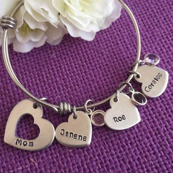Mom Bracelet - Mother's Day Gift  - Personalized Charm Bracelet - Name - Mommy Bangle Bracelet - Personalized Bracelet - Gift for Mom - Mom