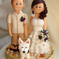 Personalised bride and groom wedding cake topper-Taking orders for July 15, 2013 onwards Only- Fully booked through up till mid July 2013