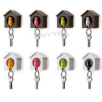 Warm Bird Nest Sparrow House Key Chain Ring Chain Wall Hook Holders Whistle LS