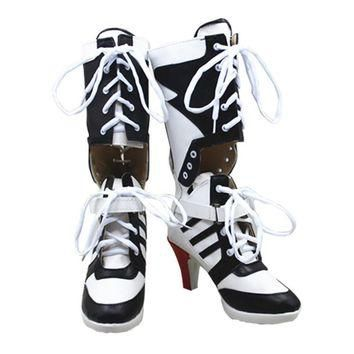 Harley Quinn Cosplay Boots Shoes Joker Cosplay High Boots Adult Women High Heel Hallow