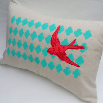 Handpainted Swooping Swallow Slipcover, 12X18 Cushion Cover, Home Decor, Throw Pillow, Aqua and Red