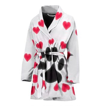Paws Print With heart Women's Bath Robe-Free Shipping