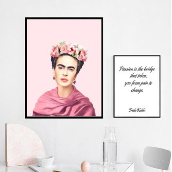 SURE LIFE Frida Kahlo Figure Vintage Poster Passion Quotes Canvas Paintings Print Wall Art Picture Living Room Home Decoration