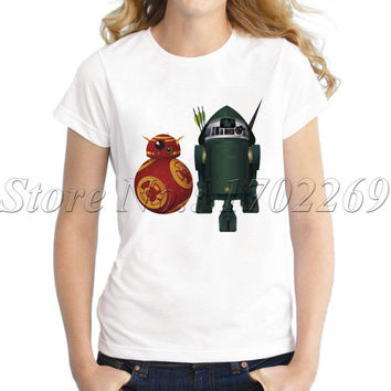 New Arrivals Droid Trinity women customized t-shirt The Avengers Droid cartoon printed lady tops short sleeve casual tee shirt