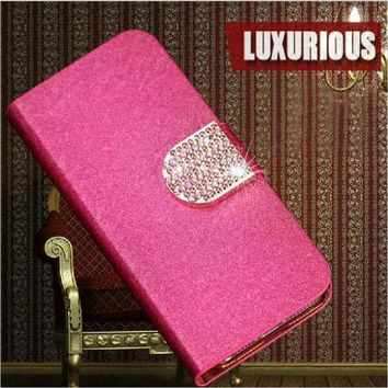 DKF4S Newest 5 Colors Luxury Elegant PU Leather Mobile Phone Cases Cover For LG L Fino D290N D295   Free Shipping