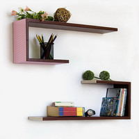 Exquisite Grid CrutchShaped Leather Wall Shelf / by onitiva