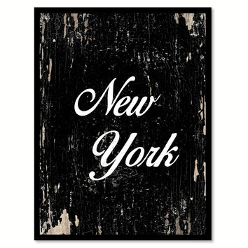 New York City Vintage Sign Black Framed Canvas Print Home Decor Wall Art Collectible Decoration Artwork Gifts