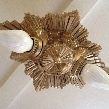 Vintage Art Deco Sunburst Ceiling Light Fixture Starburst 1930s