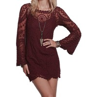 Sheinside® Women's Wine Red Long Sleeve Embroidery Crochet Sheer Shift Dress (One Size, Red)