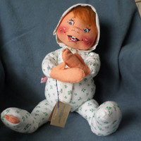 1990 Annalee Mobilitee holly baby doll 22 inch Red Hair