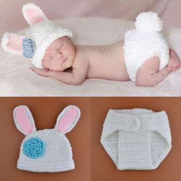 2015 New Crochet Baby Bunny Rabbit Hat and Diaper Cover Set Newborn Easter or Halloween Photo Prop Knitted Costume Set H188