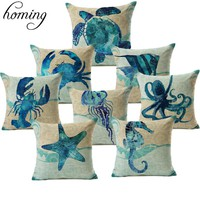 Ocean Marine Animals Turtles , Octopus , Sea Horse , Jellyfish , Seat , Chair Cushion Cover
