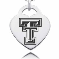 Sterling Silver Texas Tech Red Raiders Heart Charm