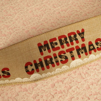 """Christmas Ribbon, Merry Christmas Ribbon, Wired Edge, 2 1/2"""" Wide, Baskets, Bows, Wreaths, Holiday Home Decor, Ribbon Decorations, 4 YARDS"""