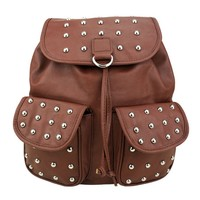 ZLYC Unisex Vintage Studded Flap Backpack Campus Bag with Round Studs