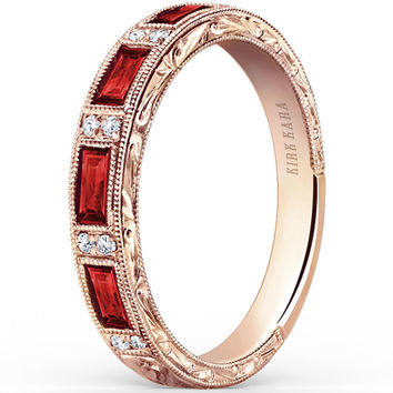 "Kirk Kara ""Charlotte"" Baguette Cut Red Ruby Diamond Wedding Band"