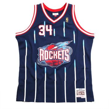 Hakeem Olajuwon Houston Rockets Swingman Basketball Jersey Navy Pinstripes
