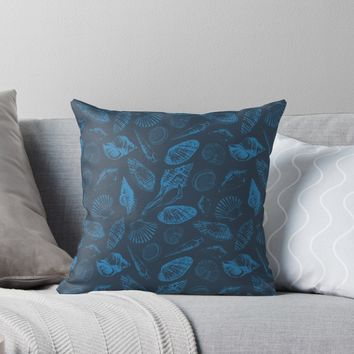 'Tropical sea shells' Throw Pillow by Katerina Kirilova